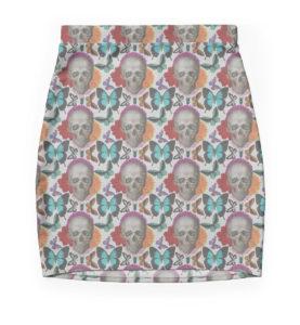 Floral Skull Mini Skirt